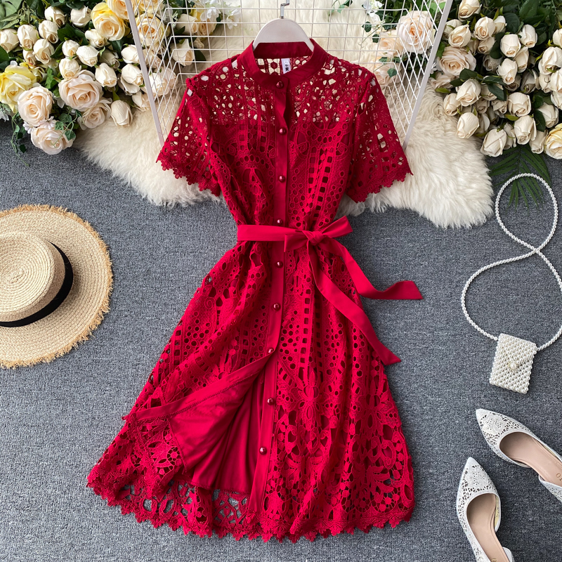 Elegant Hollow Out Balck Red White Short Sleeve Beach Dress 9