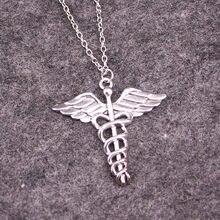 Caduceus collier docteur infirmière symbole médical pendentif aile de serpent docteur bijoux faits main