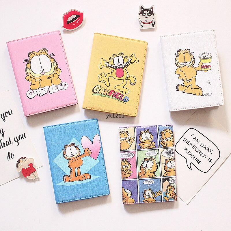 Garfield Passport Sets Ins Simple Cartoon Passport Holder Passport Bag Ticket Clip Marriage Certificate Set