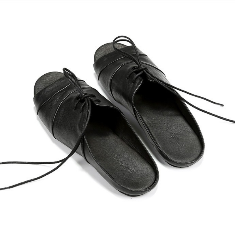 2019 Fashion England Vintage Genuine Leather Slippers Mens Summer Rome Open Toe Shoes Black Slip On Flat Sandals Casual Footwear