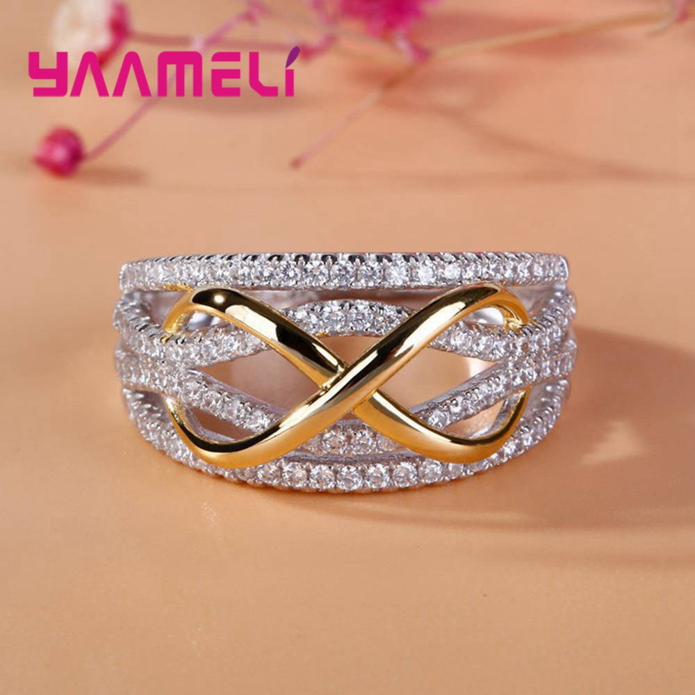 Luxury Solid 925 Sterling Silver Rings For Women Hollow-out Number 8 Infinity Love Jewelry Valentine's Day Gift Big Promotion