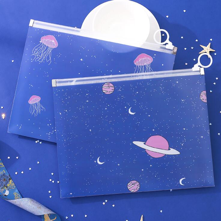 New 1PC A5 Kawaii Fashion File Folder Document Paper Organizer Pencil Notebook Storage Bag School Office Stationery