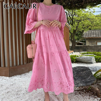 GALCAUR Korean Elegant Hollow Out Dress For Women O Neck Short Sleeve Patchwork Lace Midi Dresses Female 2020 Summer Fashion
