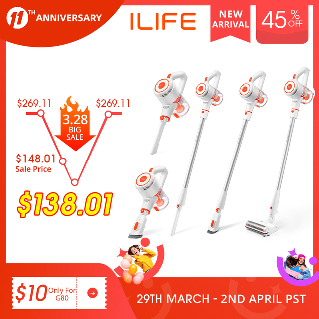 EASINE by ILIFE G80 Handheld Wirelessly Vacuum Cleaner, 22000Pa Powerful Suction, LED display, 45mins Runtime, unique Side Brush 1