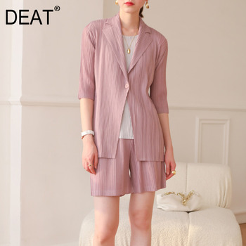 DEAT Pleated Suit Woman Notched Seven Sleeve One Button Solid Coat + Elastic Waist Shorts 2021 Summer Oversized Clothing HT938 1