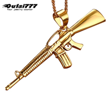 Oulai777 Mens Necklaces & Pendant Stainless Steel mini weapon gun Chain gold male men Weapon Pendants Necklace jewelry