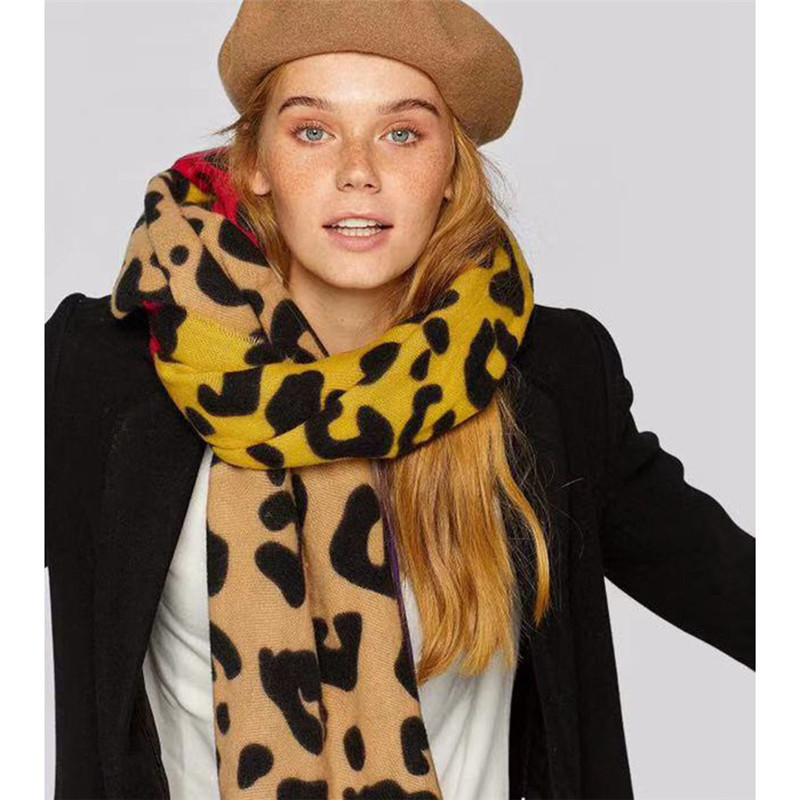 POBING Winter Soft Cashmere Scarf Women Za Leopard Print Scarves Shawl Wraps Thicken Warm Unisex Basic Blanket Pashmina 200x80CM