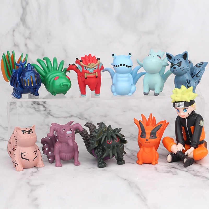 10pcs/set Naruto Uzumaki Naruto 9 pcs bijuu Q ver. Model Action Figure Toys Car decoration 5-8cm