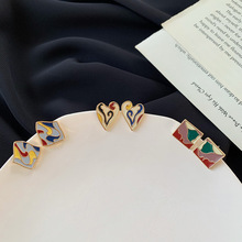 Ethnic Enamel Geometric Heart Earrings for Women Ladies Gold Color Metal Square Drop Dangle Earrings Statement Party Jewelry mythic age gold color ethnic chinese element cloisonne enamel leaves dangle earrings wholesale jewelry for women girls new