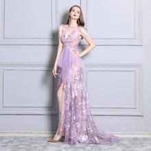 Purple Deep V-neck Sexy Perspective Car Model Evening Dresses Nightclub Costume Dress Long Elegant Charming Event