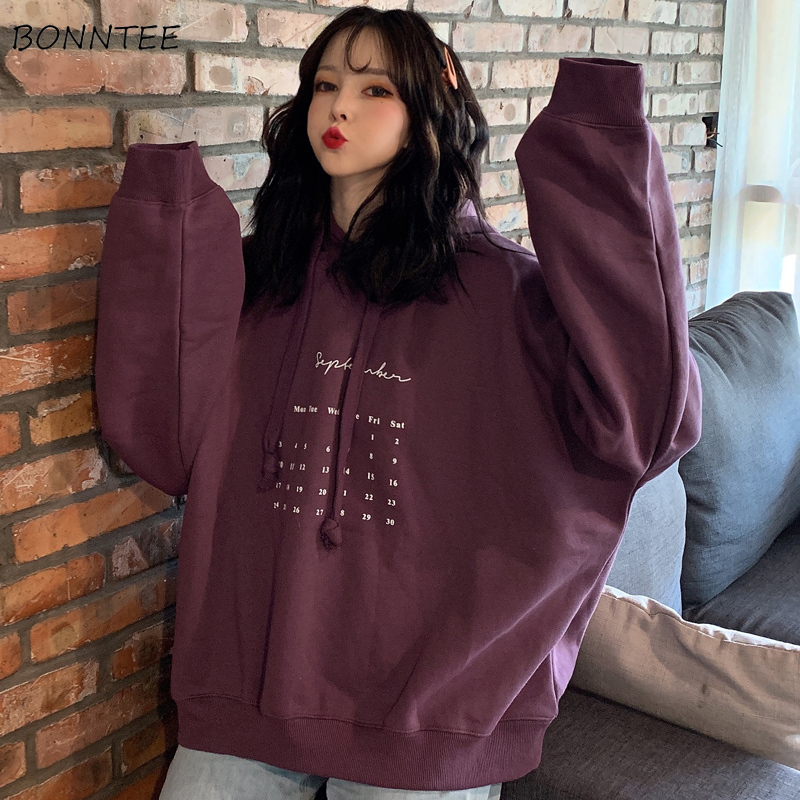 Hoodies Women Printed Ulzzang Soft Spring Autumn 2020 New Loose Korean Style Thin Hooded Plus Size Womens Sweatshirt Chic Casual