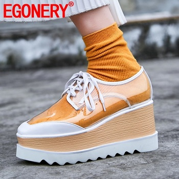 EGONERY spring newest casual women pumps high heels platform square toe genuine leather cross-tied women shoes drop shipping