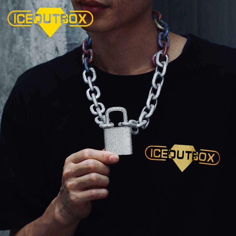 Silver Iced Out Pad Lock Pendant With Chain Necklace
