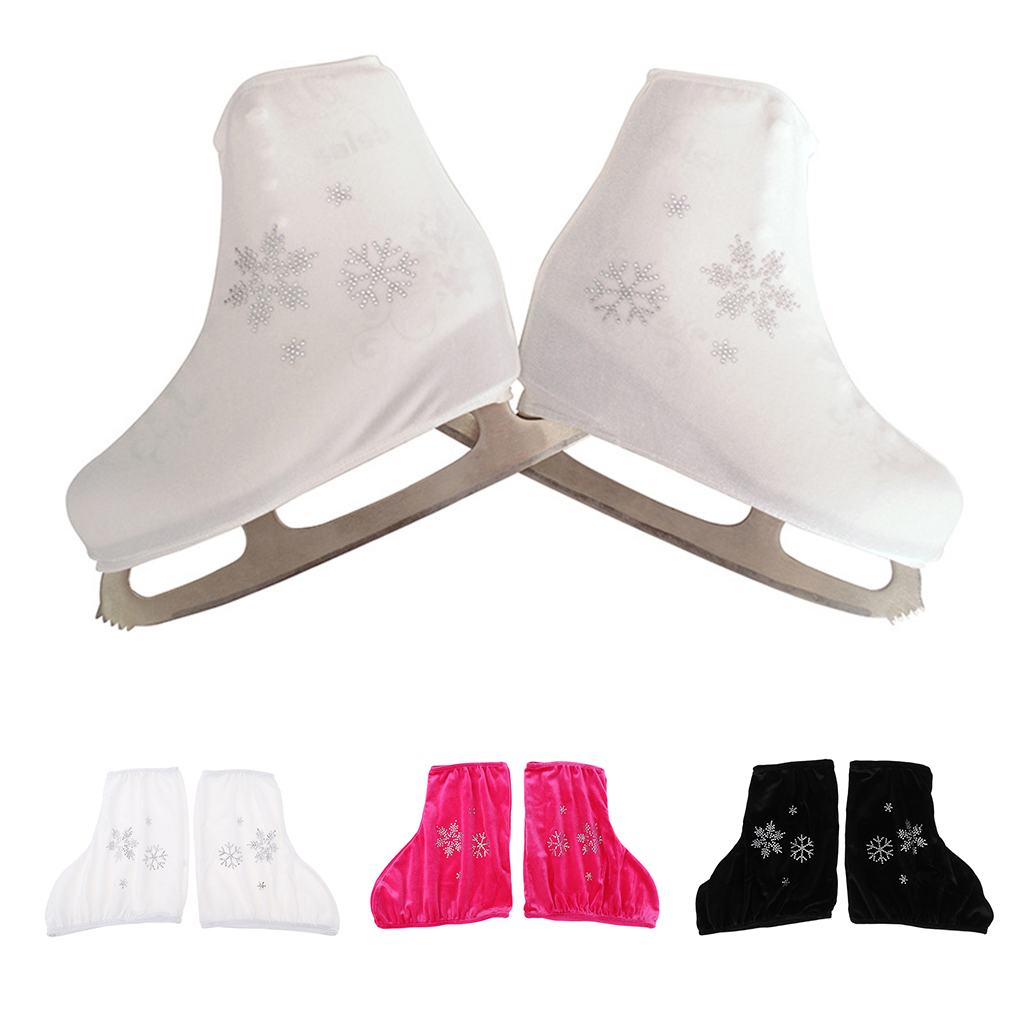 2 Pcs Fashion Figure Skate Velvet Boots Cover Ice Skate Shoes Protector Skating Accessories With Snow Flake For Adults Kids