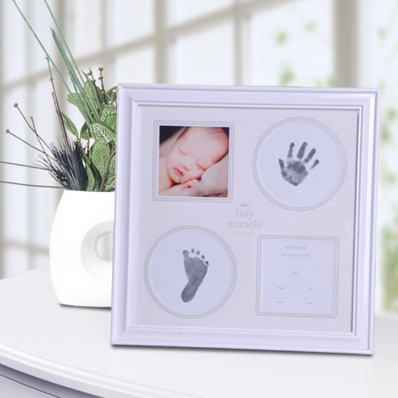 Baby Hand Foot Print Mud Photo Frame Newborn Souvenir Hundred Days New Parents Creative Gifts  72XC