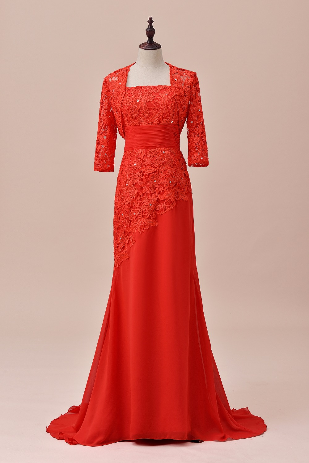 A Line 1/2 Sleeves Lace Chiffon Red 2 Pcs Mother Of The Bride Dress With Jacket Outfit Wedding Fashion Formal Long Bridal Gown