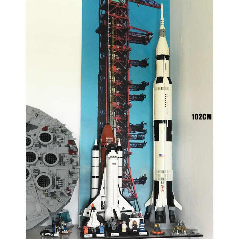 Toys Model Building-Blocks Launch Space Usa-Rocket Apollo 16014 10231 21309 Saturn-V title=