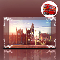 Building Block Acrylic Dustproof Display Box Show Box Gift For London Bus 10258 (Display Box Included Only, No Kit) 2 Lights
