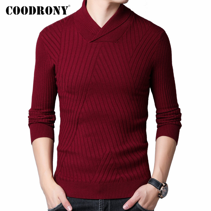 COODRONY Wool Pullover Knitwear Turtleneck Sweater Men Slim-Fit Homme Thick Autumn Fashion