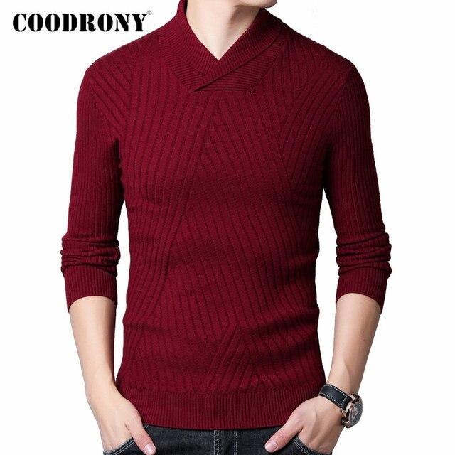 COODRONY סוודר גברים סתיו חורף עבה חם צמר סוודר גברים Streetwear אופנה Slim Fit גולף סריגי למשוך Homme 91097