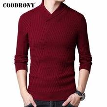 Coodrony camisola masculina outono inverno grosso lã quente pulôver homem streetwear moda fino ajuste gola alta malhas pull homme 91097