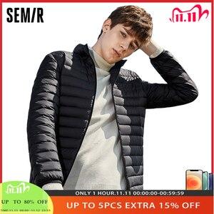Image 1 - SEMIR chaqueta de invierno con capucha para hombre, chaqueta masculina con capucha de plumón de pato blanco cálido 2020, 90%
