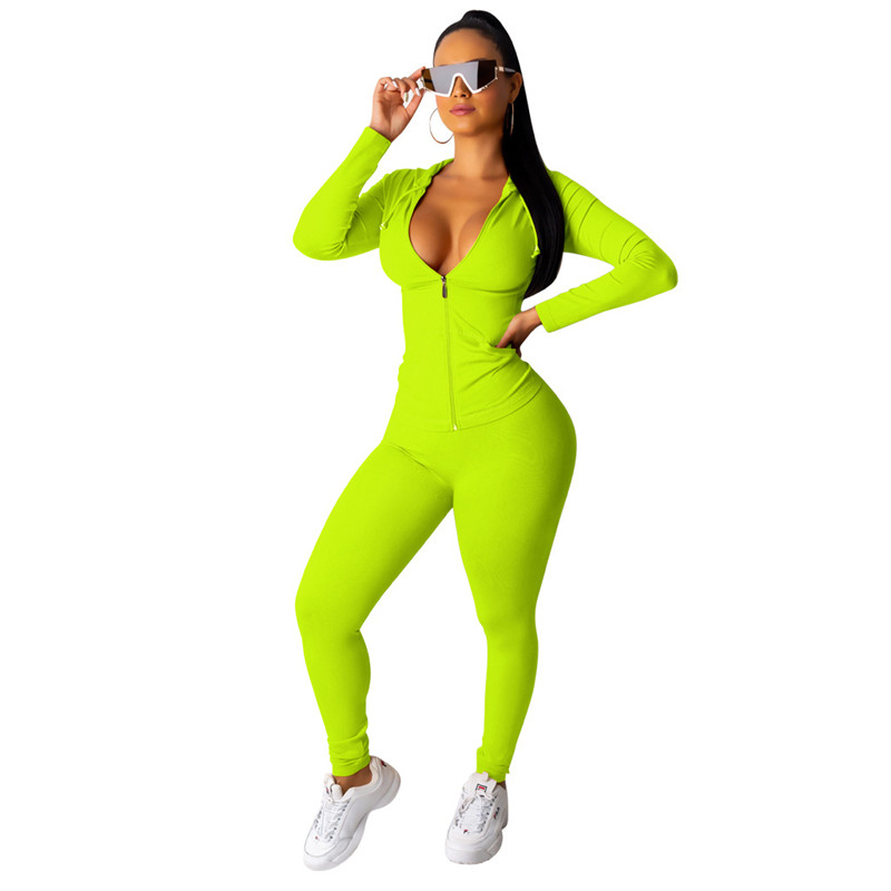 Autumn Casual Tracksuit Two Piece Set Women's Suit Zipper Hooded Jacket Top And Pants Leggings Sportswear Jogger 2 Piece Outfits