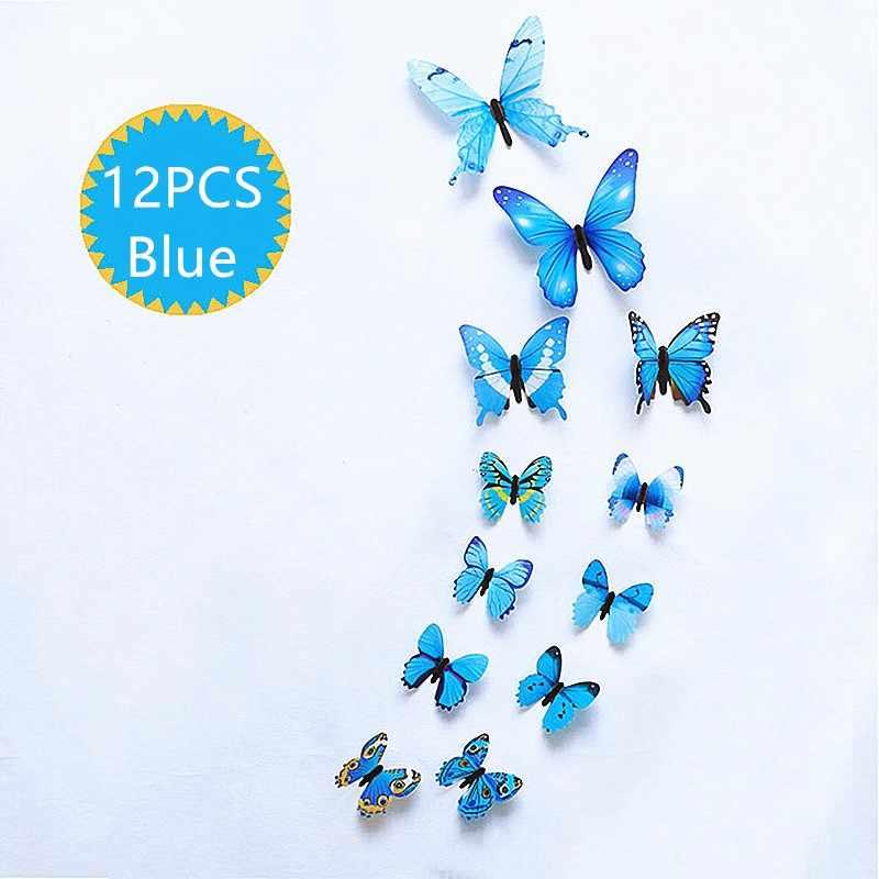 12 sztuk/zestaw moda piękne motyle na ścianę naklejki pcv 3D motyl ściana sztuka dekoracyjna naklejki ścienne pokój artystyczny dom dekoracje