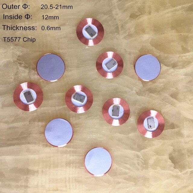10 cái/lốc 125Khz EM4100 RFID chỉ đọc Đồng Tiền Thẻ T5577 19.5mm Đường kính cuộn dây chip siêu mỏng Slim miếng dán EM viết được