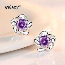 NEHZY – boucles d'oreilles rétro en argent Sterling 925 pour femme, bijoux de bonne qualité, fleur de prunier, cristal violet, Zircon, nouvelle collection