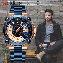 月新カレン高度なデザインのメンズウォッチ、スポーティスタイルポータブルブルー腕時計、防水メンズクォーツ時計