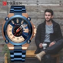 أكتوبر جديد CURREN المتقدمة تصميم ساعة رجالي ، رياضي نمط ساعة زرقاء محمولة ، مقاوم للماء ساعة كوارتز رجالية