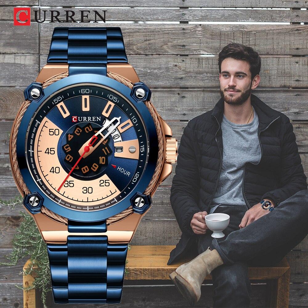 October New CURREN Advanced Design Men's Watch, Sporty Style Portable Blue Watch, Waterproof Men's Quartz Watch
