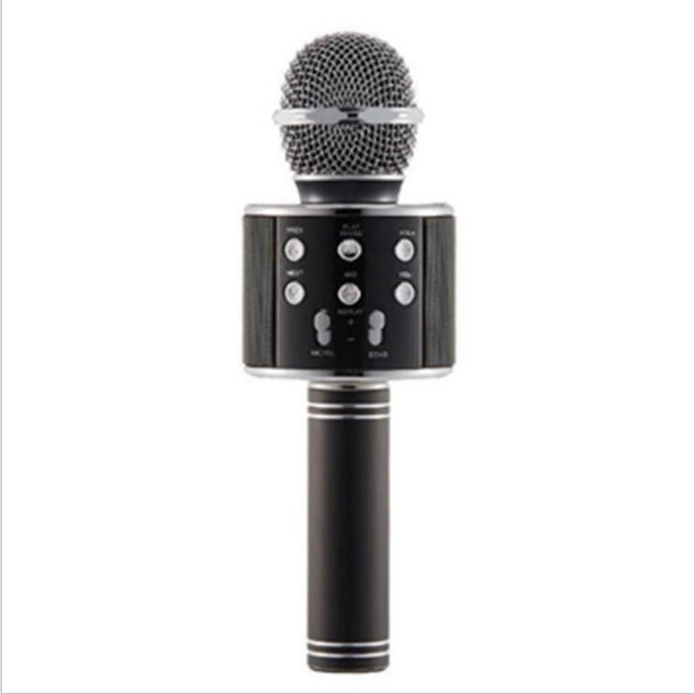 WS 858, беспроводной микрофон, профессиональный конденсаторный микрофон для караоке, bluetooth, стойка, Радио, микрофон, студия записи, WS858 - Цвет: Черный