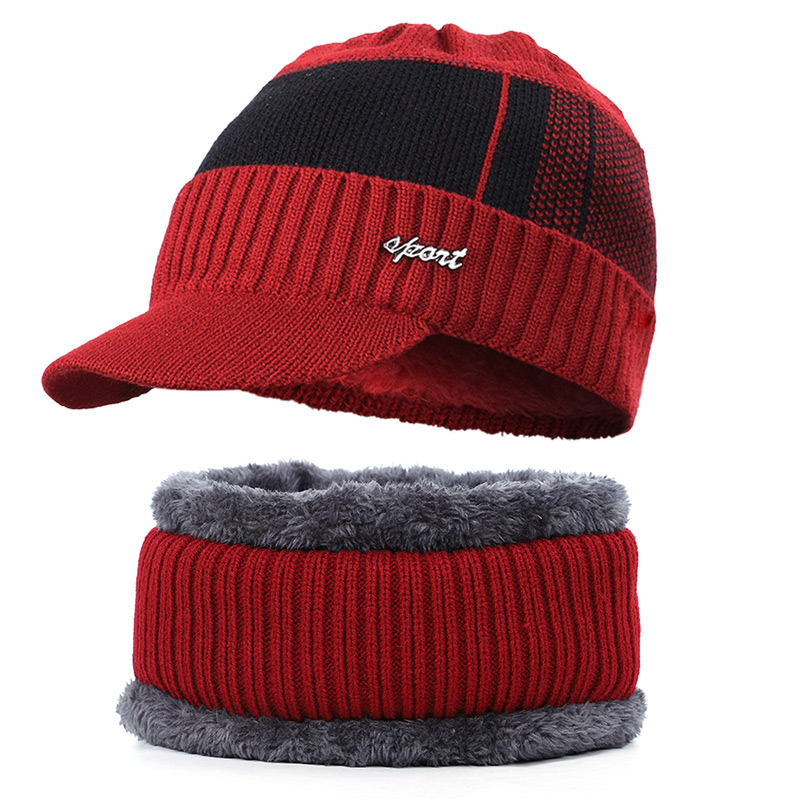Новая мужская зимняя шапка, шарф с бархатными буквами, полосатая хлопковая шапка, нагрудник, 2 комплекта для мужчин и женщин, открытый теплый костюм, повседневный горошек - Цвет: Wine