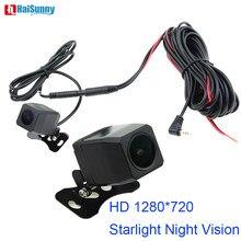 Câmera de visão noturna starlight, câmera de visão traseira reversa de 1280*720 mcdd, lente com ângulo aberto de 2.5mm, jack de 4 pinos gravadores de espelho do carro dvr