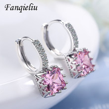 Fanqieliu Square Pink Crystal Luxury Jewelry Dangle Solid 925 Sterling Silver Drop Earrings For Women FQL21014