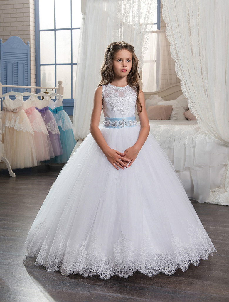 White 2019   Flower     Girl     Dresses   For Weddings Ball Gown Tulle Appliques Lace Beaded Bow Long First Communion   Dresses   Little   Girl