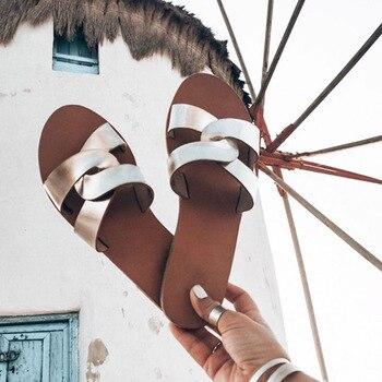 Σανδάλια γυναικεία δερμάτινα Παντόφλες - Σαγιονάρες Παπούτσια MSOW