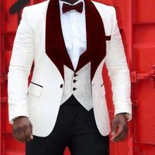 Blazer Costume Tuxedos Prom-Suits Groom Velvet Wedding Floral Burgundy White-Pattern