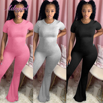 Women Solid O-Neck Short Sleeve Boot Cut Bikers Jumpsuit Bell Bottoms One Piece Wide Leg Flare Pants Romper Outfit Overalls cut out neck wide leg halter jumpsuit