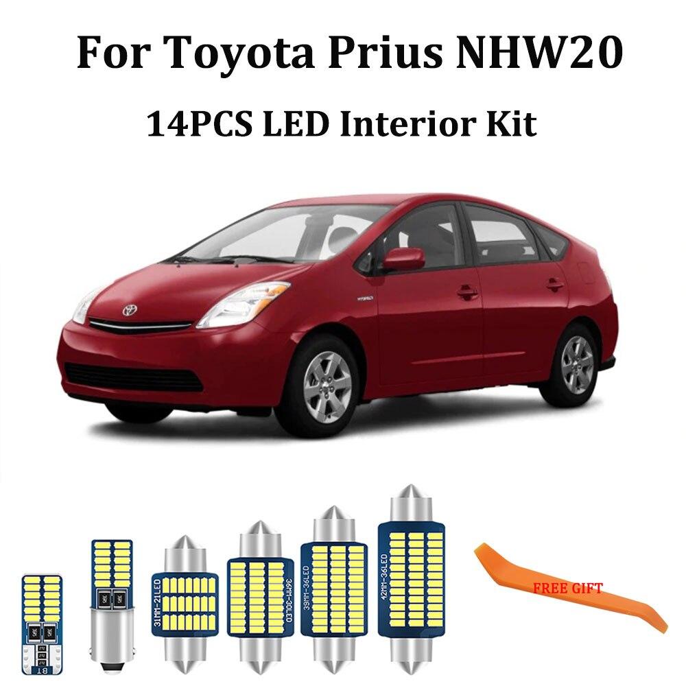 14 шт. белые светодиодные с Canbus салона комплект ламп для Toyota Prius 20 P20 NHW20 2004-2009 карты купола СИД дверь багажника огни