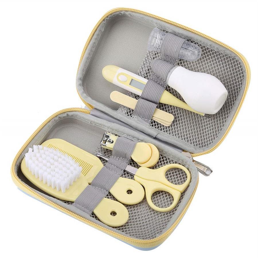 Купить с кэшбэком Newborn Baby Health Care Kits Kids Grooming Led Ear Spoon Nail Clipper Scissors Brush Comb Baby Set