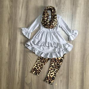 Image 1 - חדש כניסות תינוק בנות סתיו/חורף 3 חתיכות צעיף אפור נמר למעלה חלב משי מכנסיים סטי כותנה בוטיק ילדים בגדים