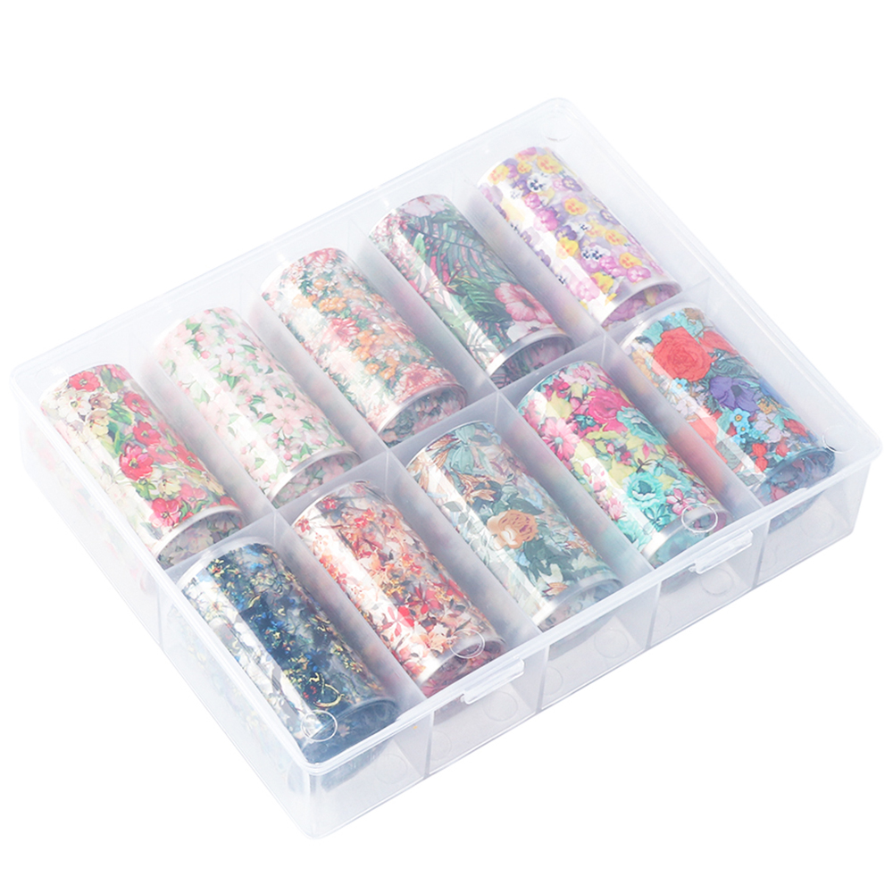 10pcs Transparent Transfer Foil 3D Flower Nail Art Sticker Set Red Green Blooming Floral Nail Stencil Prints Polish SAXKH40 54 in Stickers Decals from Beauty Health