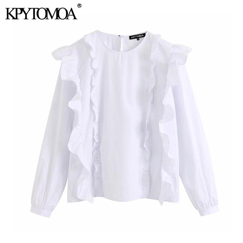 KPYTOMOA Women 2020 Vintage Fashion Ruffled White Blouses O Neck Long Sleeve Pleated Female Shirts Blusas Chic Tops