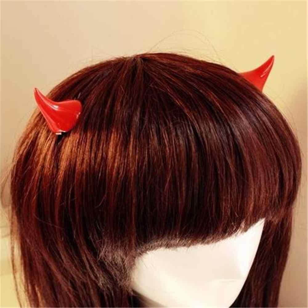 1Pair Horror Gothic Cosplay Costume Small Demon OX Horn Halloween Hair Clip Pin`