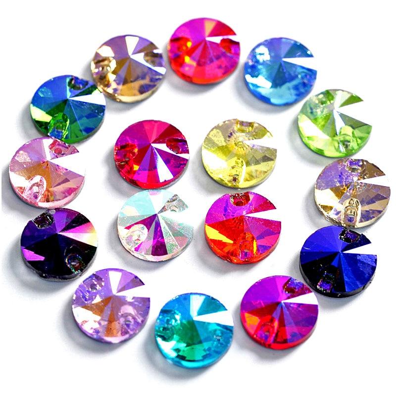Round Rivoli Best Glass Crystal AB Sew On Rhinestone Many Colors Round Sew On Rhinestone Glitter Rhinestones For Dress B3516