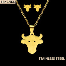 fengnee Gold Color Stainless Steel Sets For Women cow horn Necklace Earrings Jewelry Set Wedding Jewelry gold color stainless steel jewelry sets romantic wedding earrings necklaces for women crystal and opal jewelry