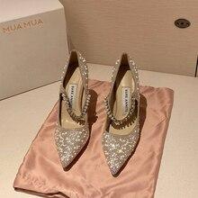 Wedding-Shoes Fairy-Style High-Heeled Pointed Autumn Lady Diamond Slim New
